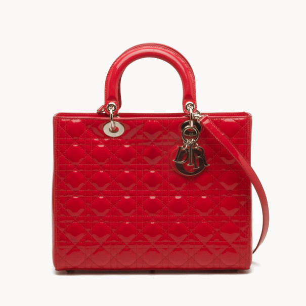 9d6f61686c Buy Dior Red Patent Large Lady Dior Bag 38184 at best price | TLC