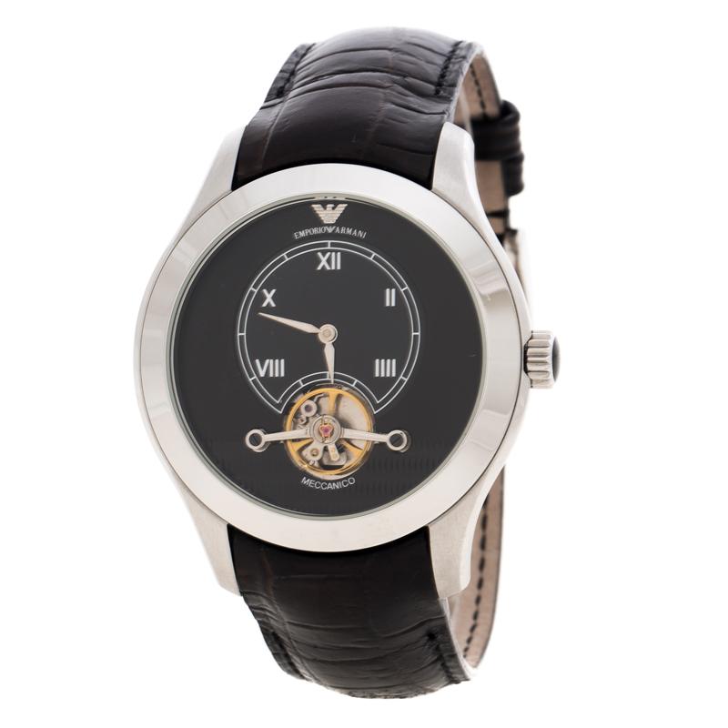 5015d09f6b4a9 ... Emporio Armani Black Meccanico AR4637 Stainless Steel Leather Men's  Wristwatch 44 MM. nextprev. prevnext