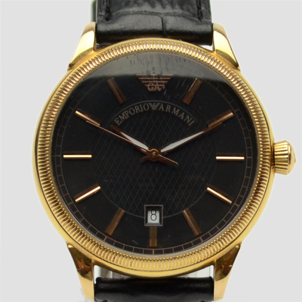 Emporio Armani Rose Gold Plated Pilot Mens Wristwatch 48 MM
