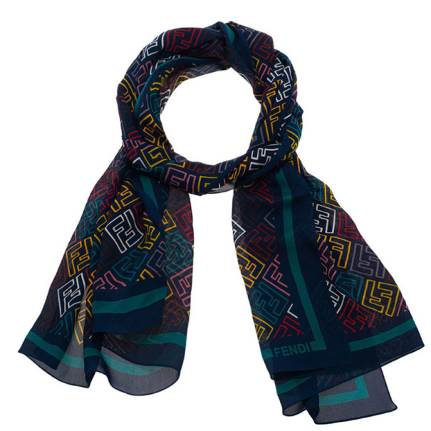 ad715ee8a64 Buy Fendi Blue Multicolor Zucca Silk Stole 2568 at best price