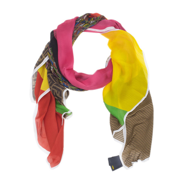 b358ffbda52 Buy Fendi Zucchino Multicolor Brown Silk Stole 3982 at best price
