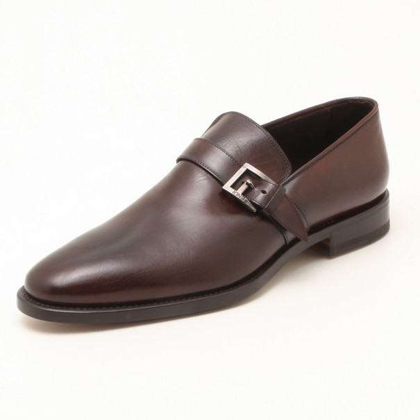Fendi Brown Leather With Buckle Men's Shoes Size 44