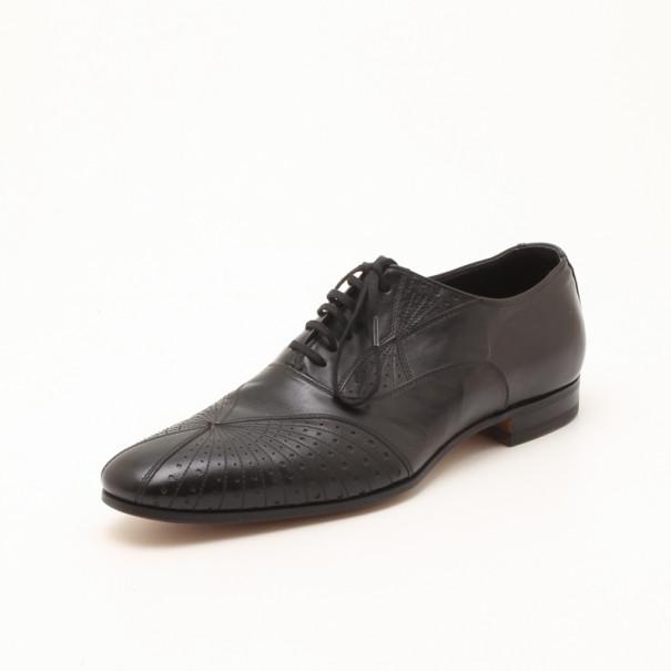 Fendi Black Brogue Lace Up Men Loafers Size 44