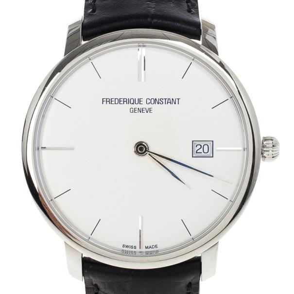 Frederique Constant White Stainless Steel Slimline Men's Wristwatch 40MM
