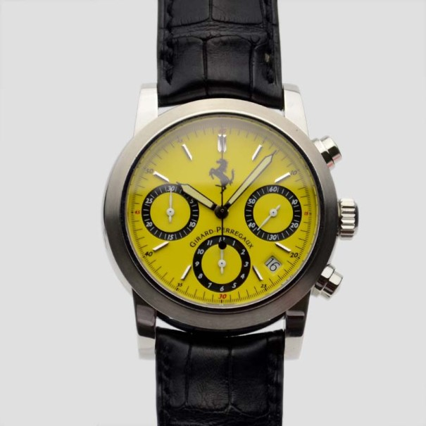 Pre-owned Girard-perregaux Yellow Stainless Steel Leather Ferrari Ref.8020 Chronograph Men's Wristwatch 38 Mm In Black