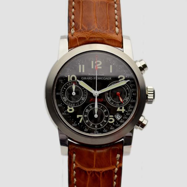 Girard Perregaux Black Carbon Fiber Ferrari 300 SS/ Leather Chronograph Ref.8020 Mens Wristwatch 36 MM