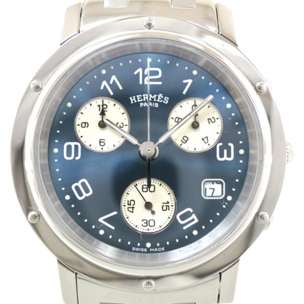 Hermes Clipper Chronograph SS Blue Mens Wristwatch