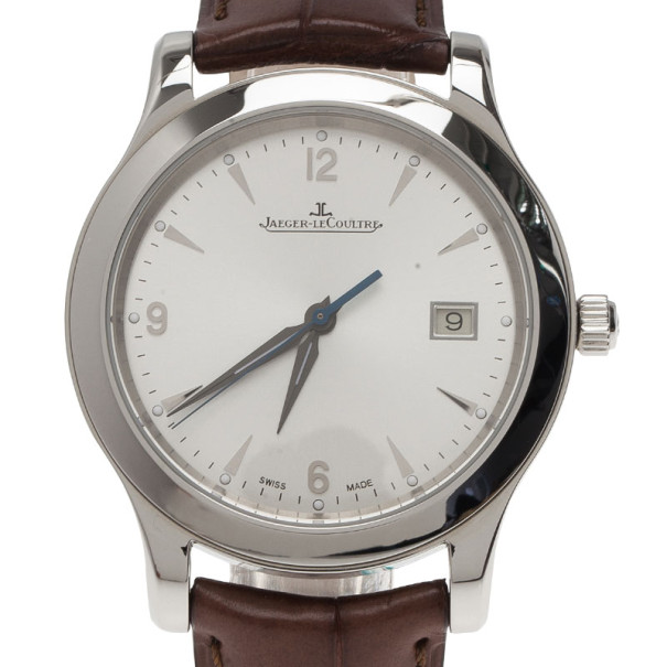 Jaeger LeCoultre White Stainless Steel Master Collection Men's Wristwatch 39MM