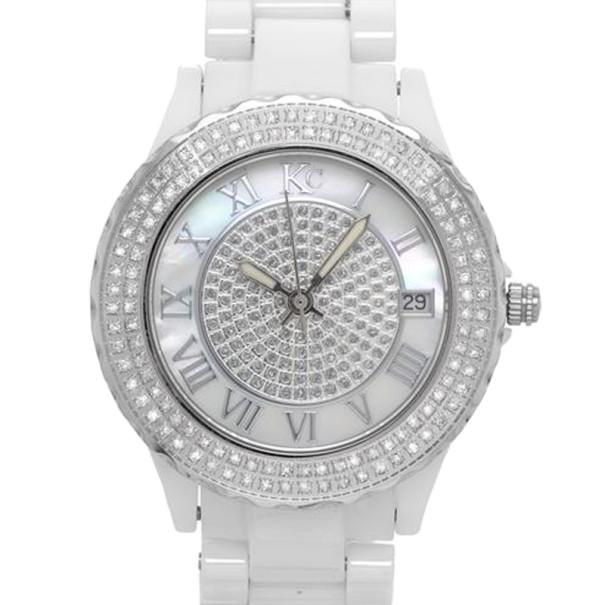 KC Diamond Silver Ceramic SS Ladies Wristwatch