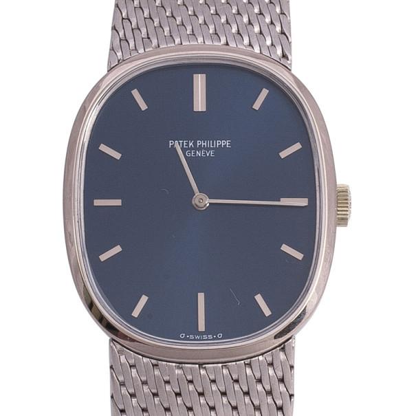 Patek Philippe Ellipse 18 K White Gold Power Reserve Mens Wristwatch 31 MM