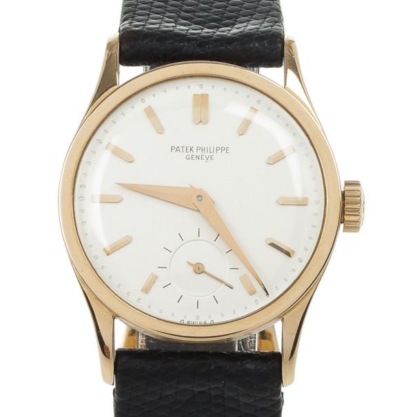 Patek Philippe 18 K Yellow Gold Calatrava Vintage Mens Wristwatch 33 MM