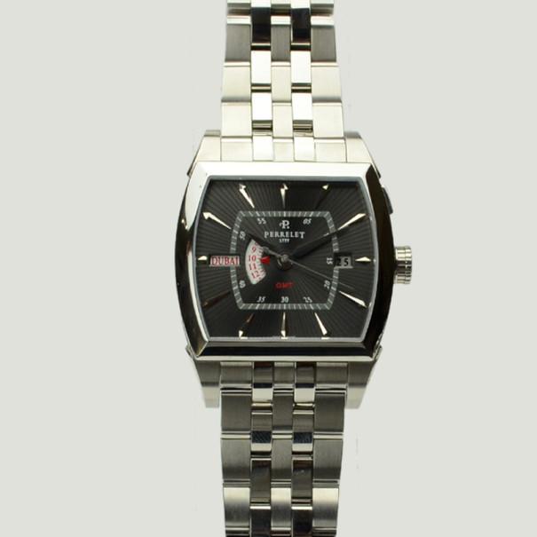 Perrelet Black Stainless Steel GMT Tonneau Mens Watch 38 MM