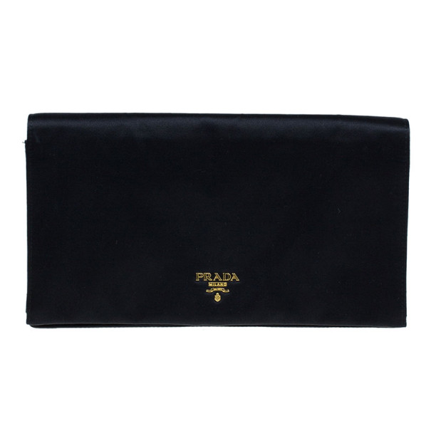 363b7dfbc404c Prada Black Satin Clutch