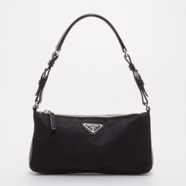 b0196a9816f3 Buy Prada Black Tessuto Nylon Pochette 37513 at best price