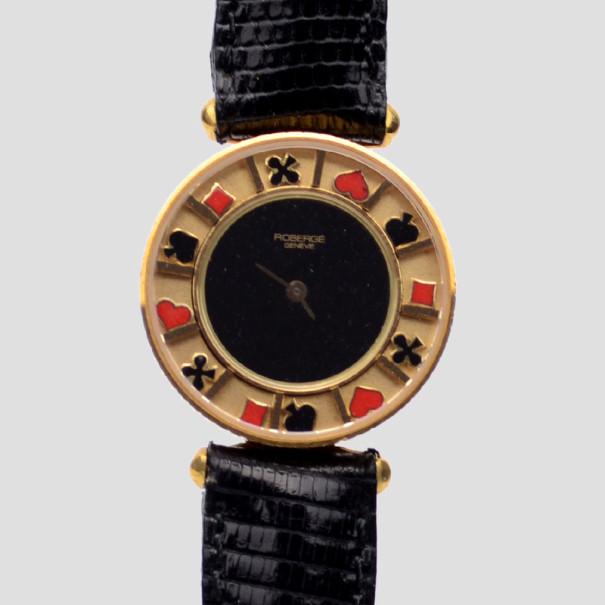 Robergé Casino 18 K Yellow Gold Black Womens Wristwatch 30 MM