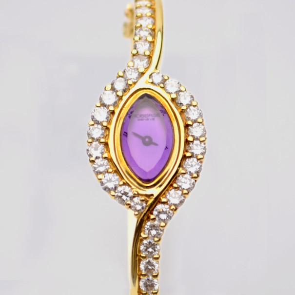 Robergé Barook 18K Yellow Gold Diamond Womens Wristwatch 17 MM