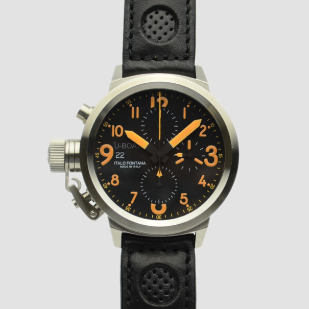 U-Boat Flight Deck SS Black Chronograph Mens Wristwatch 43 MM