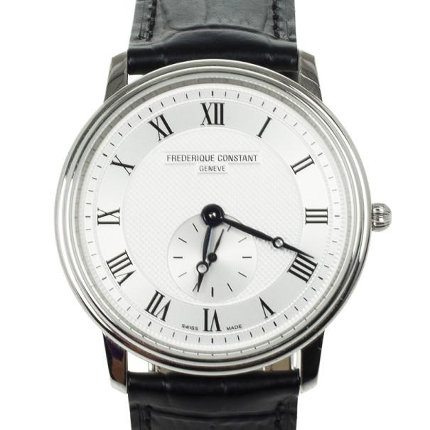Frederique Constant Stainless Steel Leather Quartz Unisex Wristwatch 37 MM