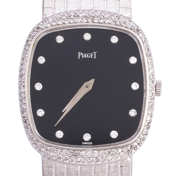 Piaget 18 K White Gold Vintage Unisex Wristwatch 28 MM