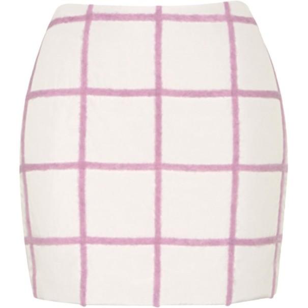 3.1 Phillip Lim White Woolen Grid-Print Mini-Skirt S