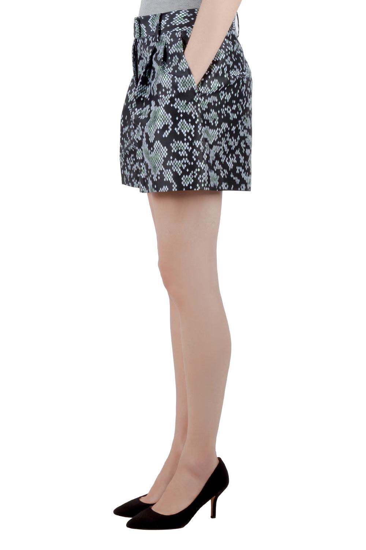 3.1 Phillip Lim Black Digital Anaconda Pattern Jacquard High Waist Shorts S  - buy with discount
