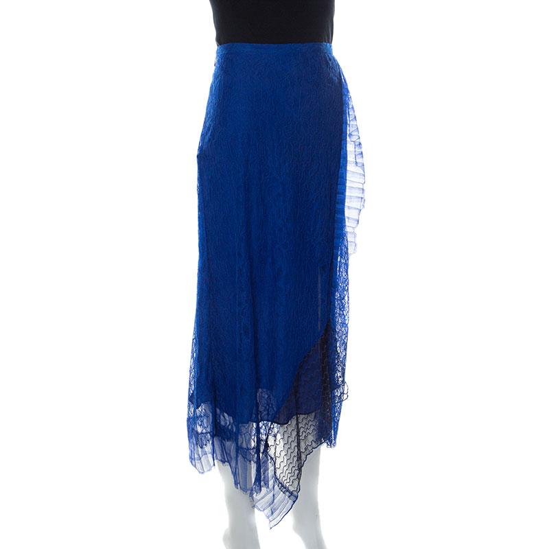 3.1 Phillip Lim Blue Lace Patchwork Skirt L