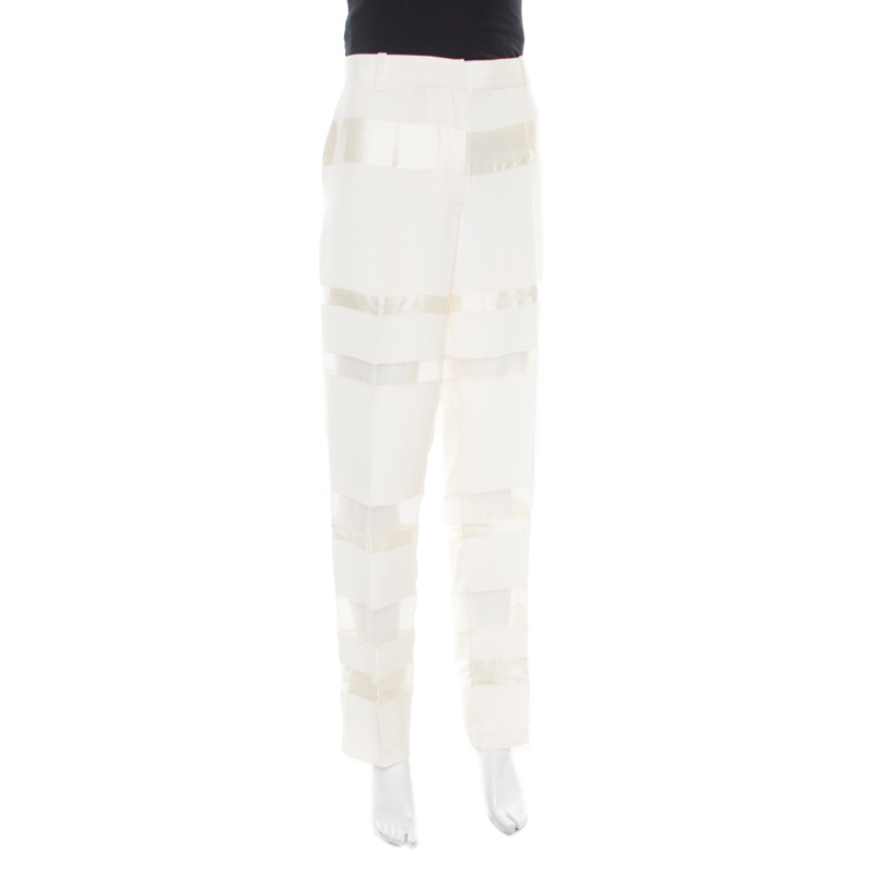 3.1 Phillip Lim Cream Silk and Sheer Organza Paneled Grunge Trousers M