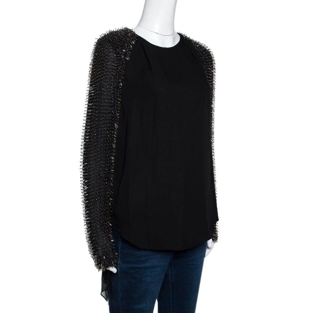 3.1 Phillip Lim Black Silk Crepe Static Beaded Sleeve Top XS