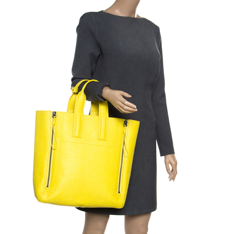 3.1 Phillip Lim Yellow Shark Embossed Leather Pashli Tote