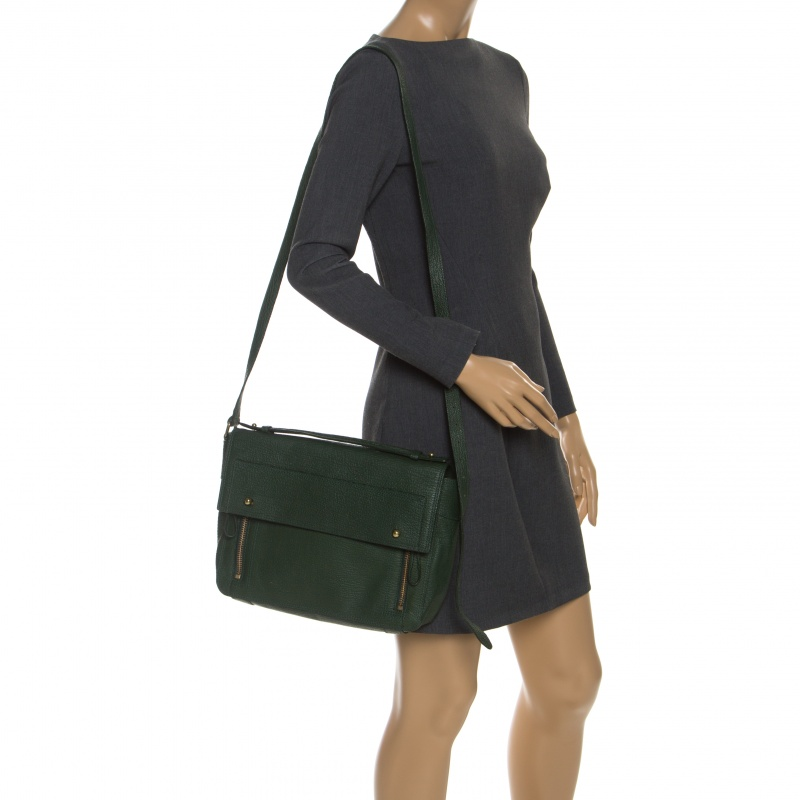 3.1 Philip Lim Green Leather Pashli Top Handle Bag