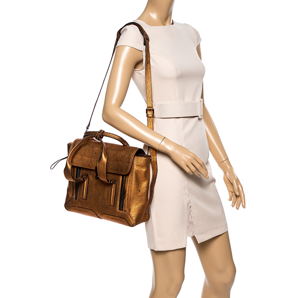 3.1 Phillip Lim Metalic Bronze Grained Leather Medium Pashli Satchel