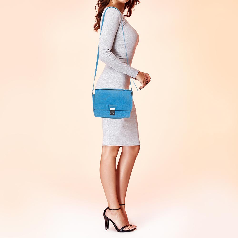 3.1 Phillip Lim Blue Nubuck Leather Mini Pashli Messenger Bag