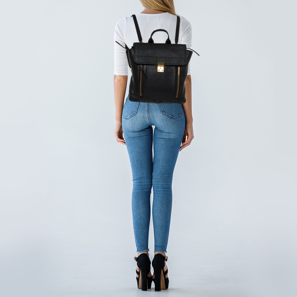 3.1 Phillip Lim Black Leather Pashli Backpack