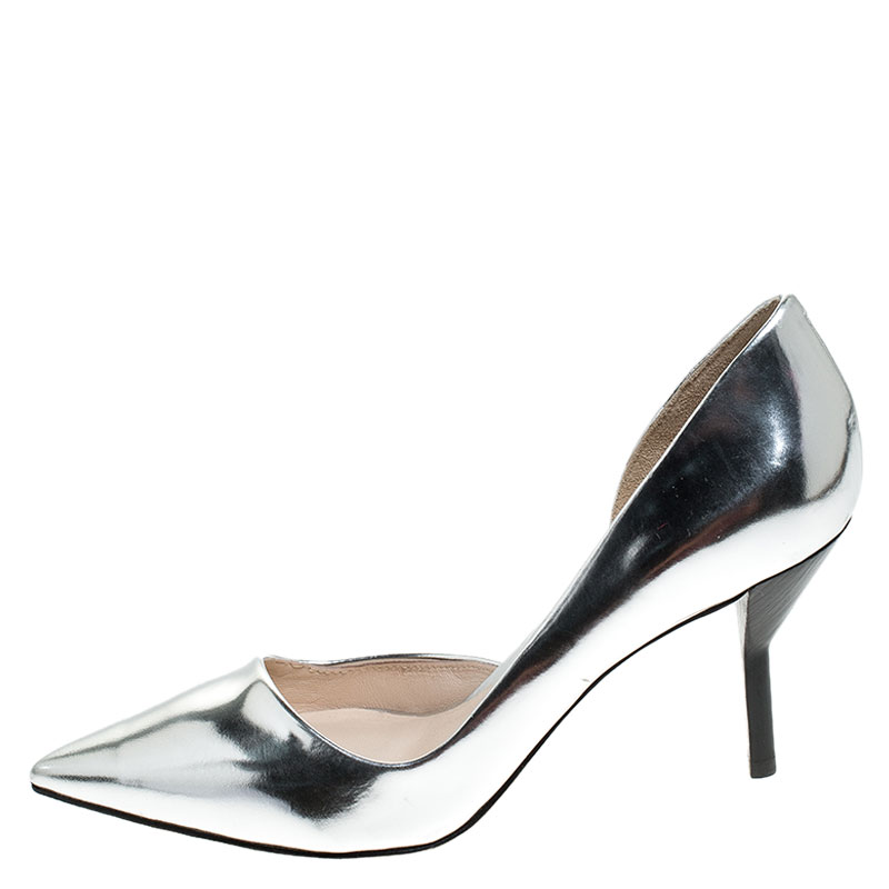 3.1 Philip Lim Silver Patent Leather Martini Pointed Toe Pumps Size 38