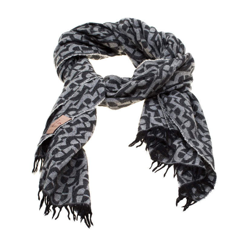 Aigner Black and Grey Logo Pattern Jacquard Fringed Edge Scarf