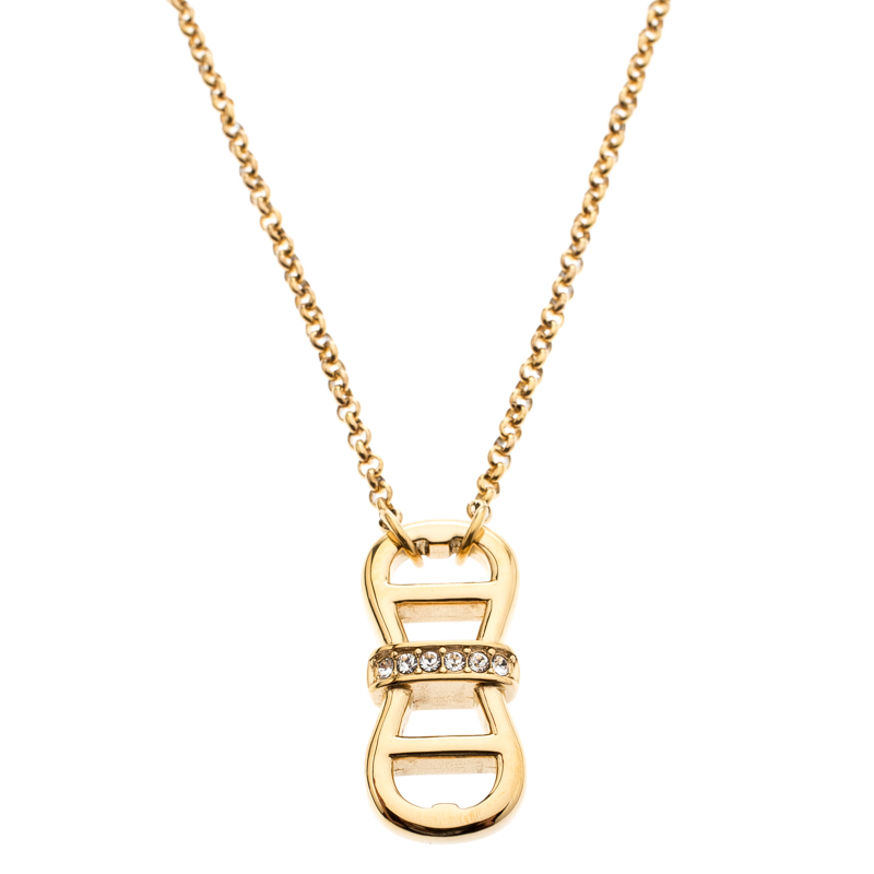 fbfe15c1f1 Aigner Gold Plated Crystal Dual Monogram Pendant Necklace