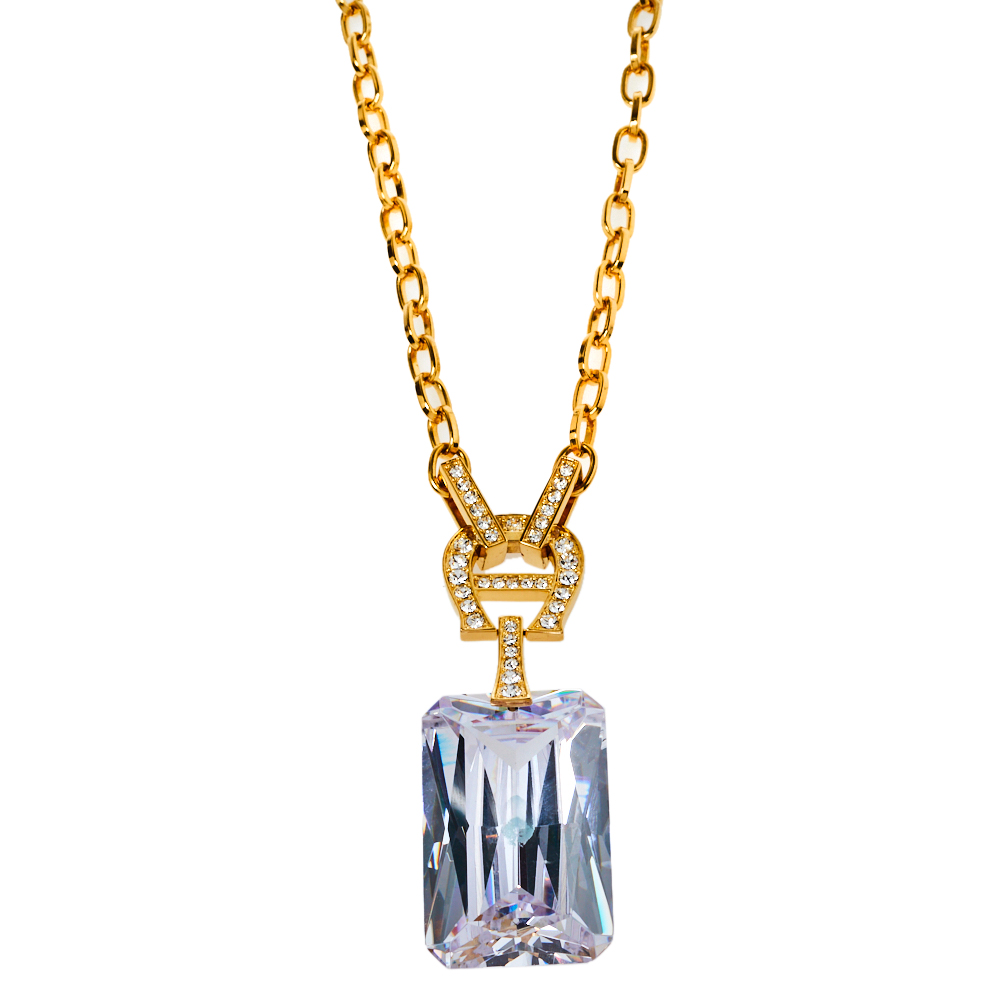 Pre-owned Aigner Gold Tone Large Crystal Pendant Necklace