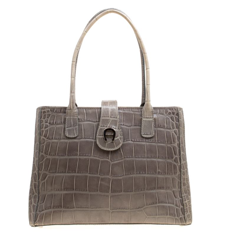 Aigner Grey Croc Embossed Leather Tote