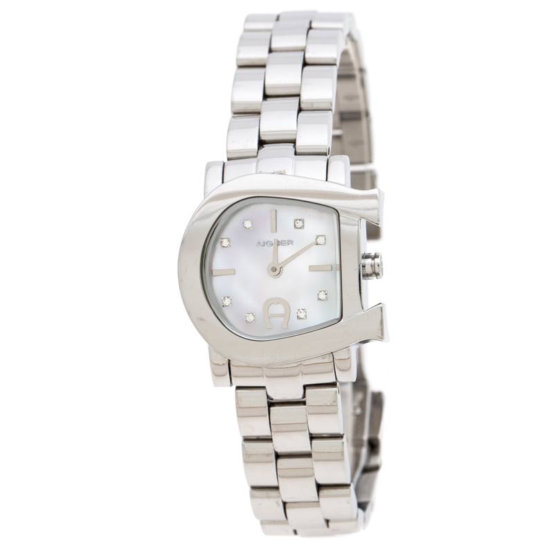 Aigner White Mother of Pearl Stainless Steel Genua Due A31000 Women's Wristwatch 26 mm