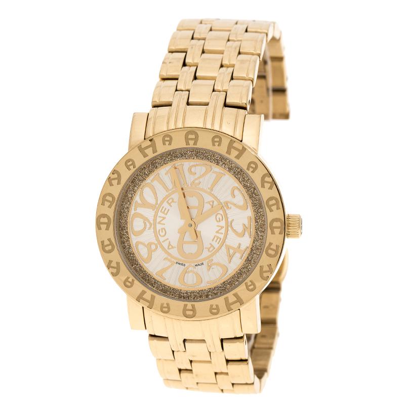 13386b251d1b1 إشتري ساعة يد نسائية أيغنر A26337 ستانلس ستيل مطلي ذهب شامبانيا 36مم ...