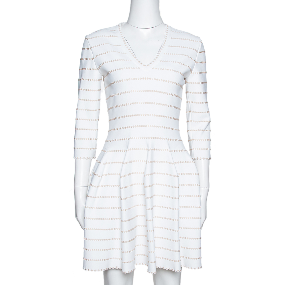 Pre-owned Alaïa White & Beige Dotted Knit Fit & Flare Dress M