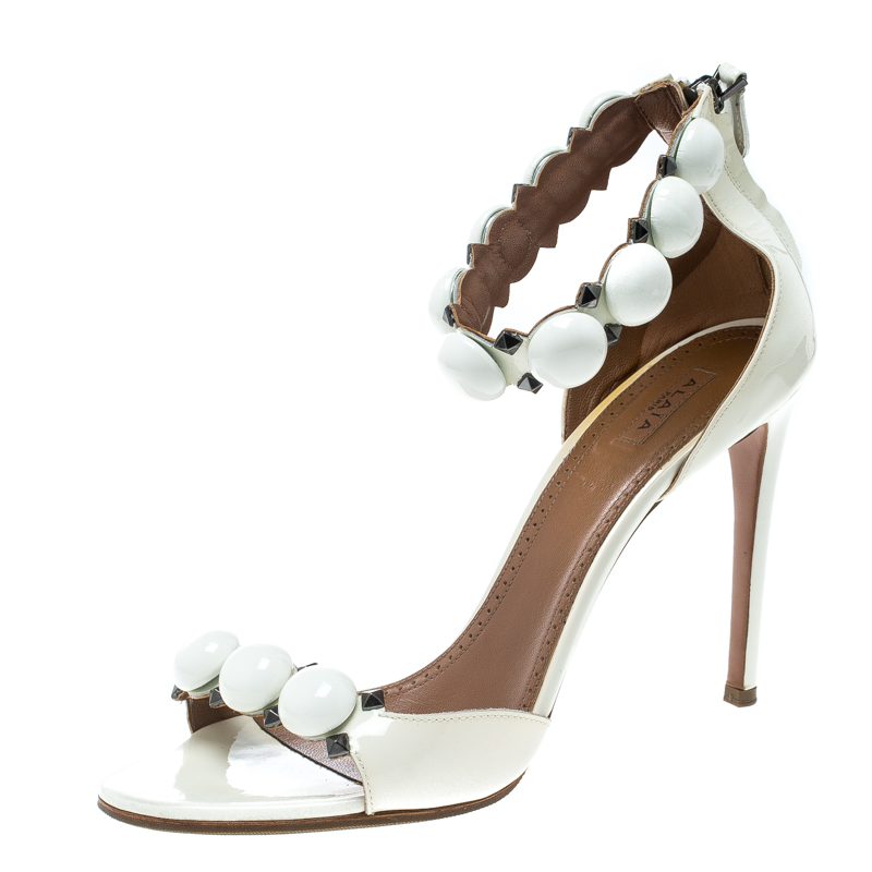 29a11c7e3e87 ... Alaia White Patent Leather Bombe Stud Embellished Open Toe Sandals Size  41. nextprev. prevnext