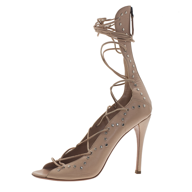 c59fe137d77e Buy Azzedine Alaia Beige Leather Lace Up Gladiator Sandals Size 40 1730 at  best price