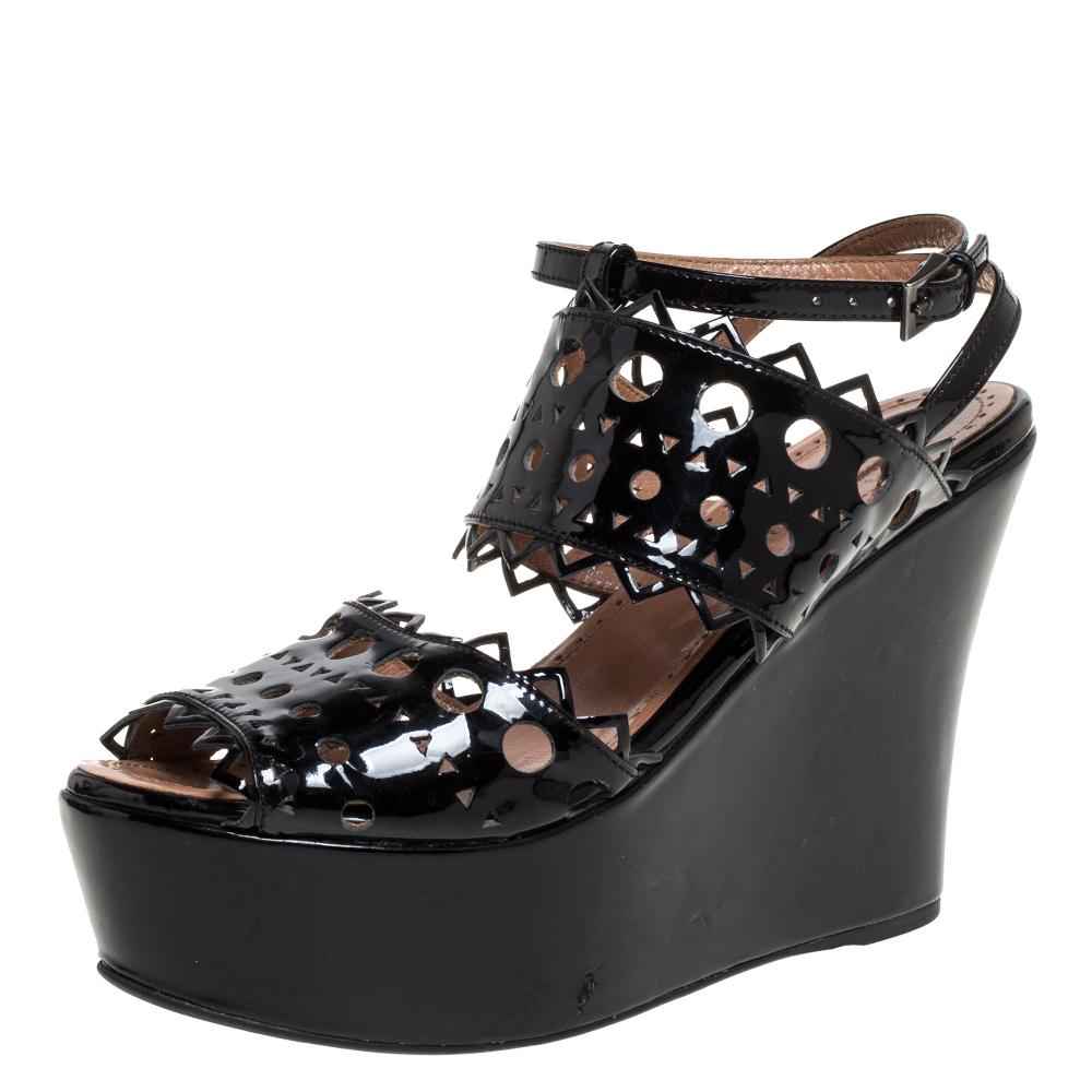 Pre-owned Alaïa Black Patent Leather Cutout Platform Wedge Slingback Sandals Size 35