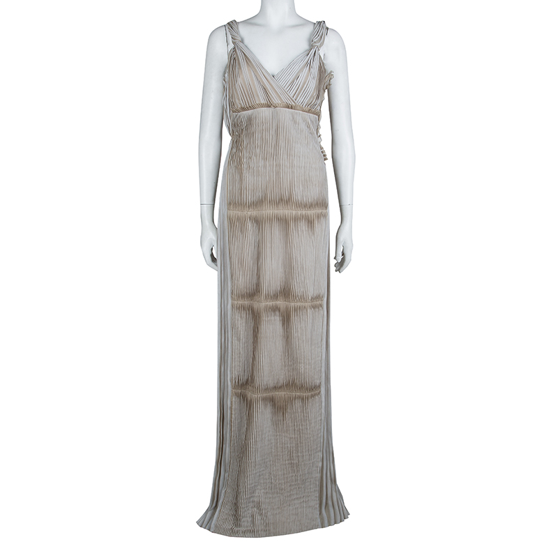 Alberta Ferretti Beige Silk Pleated Pintuck Detail Sleeveless Gown