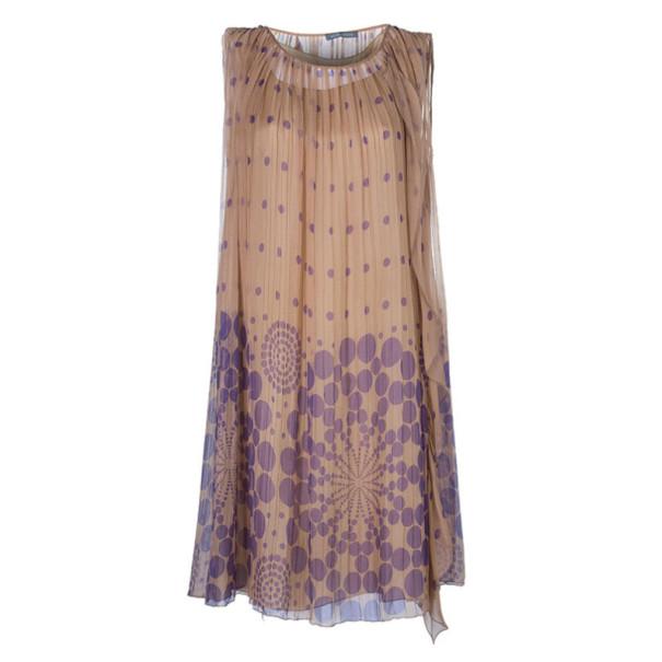 Alberta Ferretti Pleated Printed Dress M