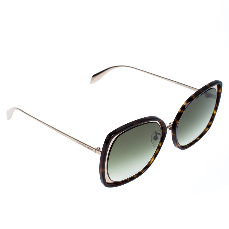 Alexander McQueen Brown/Green Tortoise Gradient AM0151 Sunglasses