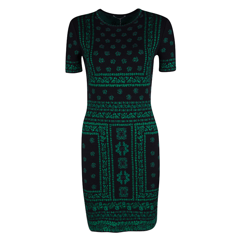 a4458615df1 Buy Alexander McQueen Black and Green Floral Pattern Jacquard Knit ...