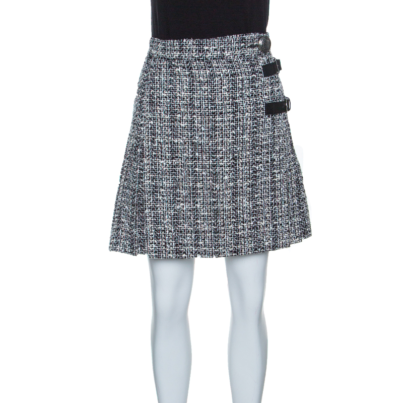 449a2860d4 Buy Alexander McQueen Monochrome Tweed Pleated Wrap Kilt Mini Skirt ...