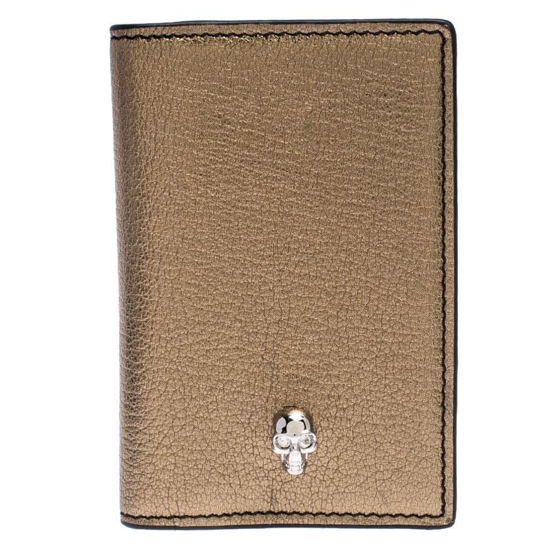 Alexander McQueen Metallic Gold Leather Skull Bifold Card Holder
